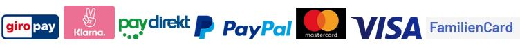Unsere Zahlungsmethoden giropay, Klarna, paydirekt, Paypal, Mastercard, Visa, Familiencard